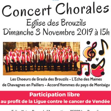 3 Novembre : Concert Chorales aux Brouzils
