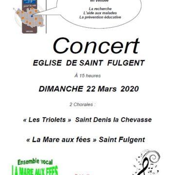 22 mars : Concert chorales à St Fulgent
